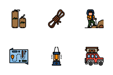 Trekking And Camping. Icon Pack