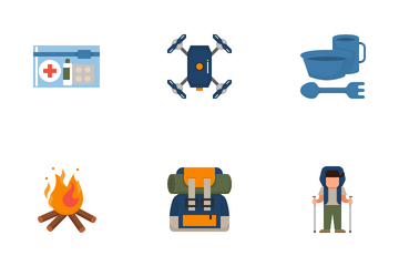 Trekking And Camping Icon Pack