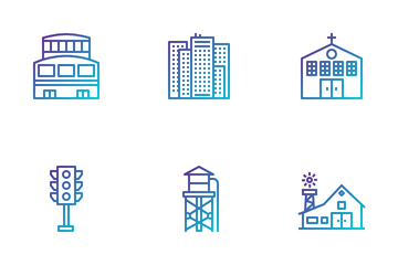 Urban Elements And Building Icon Pack