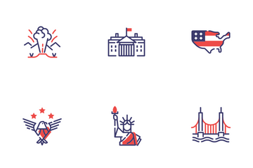 USA Elements Flat Outline - Patriotic And Freedom Icon Pack