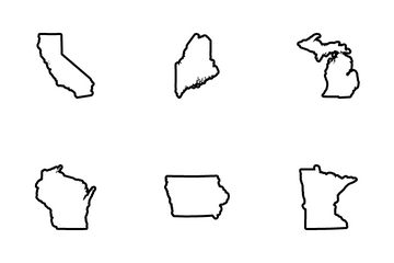 USA States Map Icon Pack
