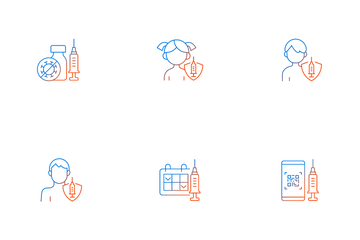 Vaccination And Covid Passport Icon Pack