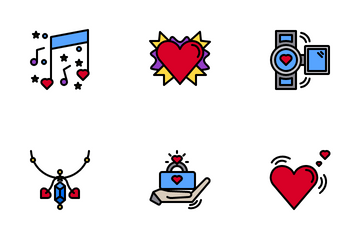 Valentine Color Line Icon Pack