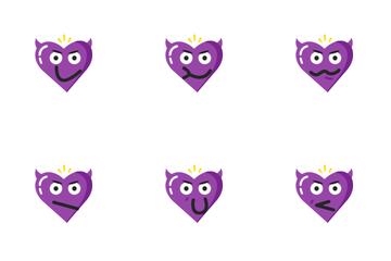 Valentine Heart Angry Devil Emoji Icon Pack