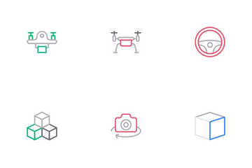 Virtual Reality And Drone Icon Pack