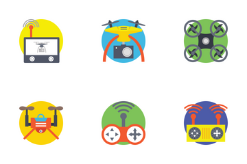 Virtual Reality And Drones Icon Pack