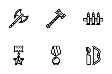 War Outline Icon Pack