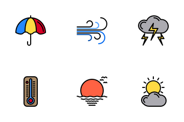 Weather Color Line Icon Pack