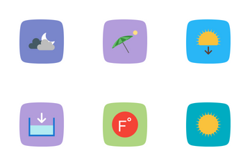 Weather Flat Curve BG Icon Pack