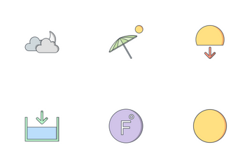 Weather Flat Outline  Icon Pack