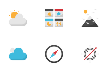 Weather Forecast Outline Flat Icon Pack