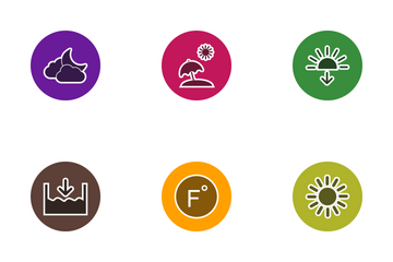 Weather Glyph Circle Icon Pack