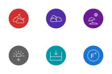 Weather Line Circle Icon Pack