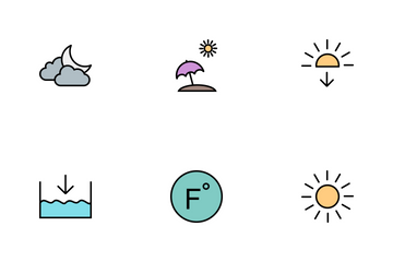 Weather Line Filled Icon Pack