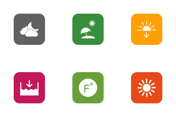 Weather Round Corner Glyph Icon Pack
