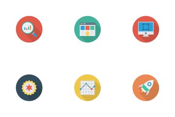 Web Design & Programming Flat Circle  Icon Pack