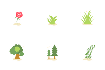 Wild Plant And Flower Flat Icon Pack