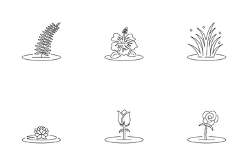 Wild Plant, Flower, & Tree Icon Pack