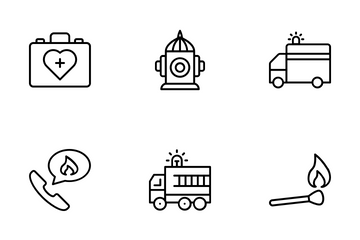 Wildfire Firefighting Icon Pack