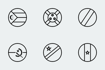 Wolrd Flags Outlines Icon Pack