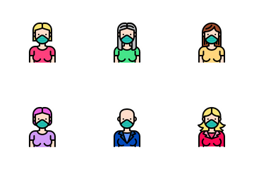 Woman Wear Medical Mask Icon Pack