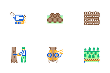 Wood Logging Industry Icon Pack