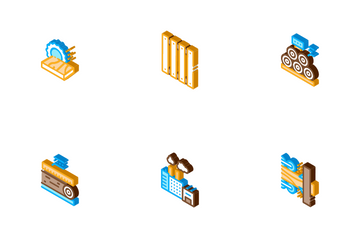 Wood Production Plant Icon Pack