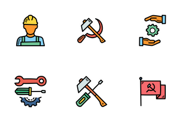 Workers Day Doodles Icon Pack