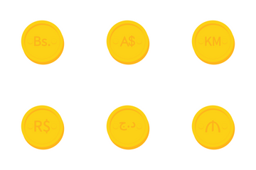 World Currency Gold Coins Icon Pack