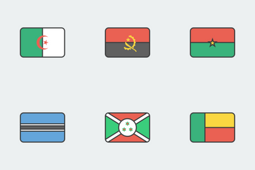 World Flags Outlines Icon Pack