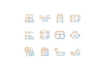 Pool Floats And Water Safety Equipment Icon Pack