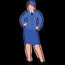 Air Hostess Woman Aviator Airwoman Icon