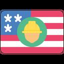 American Flag Labor Day Flag Icon