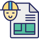 Architecture Work Blueprint Construction Plan Icon