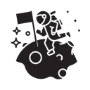 Astronaut Moon Galaxy Icon