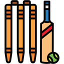 Cricket Logo Cricket Stumps And Ball Ball Stumps Icon