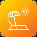 Beach Umbrella Sunbath Icon