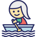 Boat Rowing Woman Icon