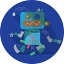 Broken Robot Mascot Icon