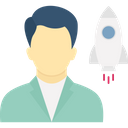 Start Up Business Start Up Man With Missile Icon