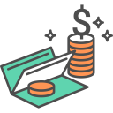 Cheque Dollar Coins Icon