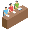 Class College Students Group Study Icon