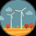 Cloudy Trees Turbine Icon