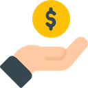 Coins in hand Icon