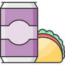 Cold Drink With Sandwich Icon