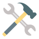 Construction Tool Hammer And Spanner Hand Tool Icon