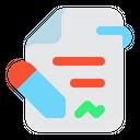 Contract File Signature Revision Icon