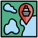 Cruise Location Ship Location Sea Map Icon