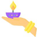 A A Diwali Lamp In Hand Diwali Lamp Icon