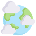 Earth With Clouds Icon